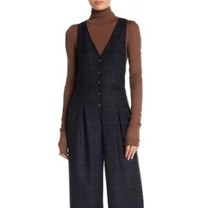 NWT Sophisticated Windowpane Jumpsuit -Free People